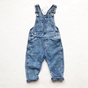 Zara NWT soft washed out denim overalls 12-18m